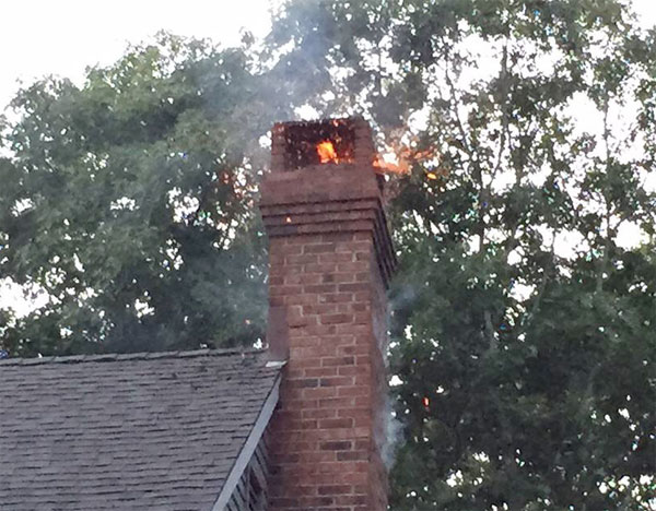 chimney on fire in Maryland home