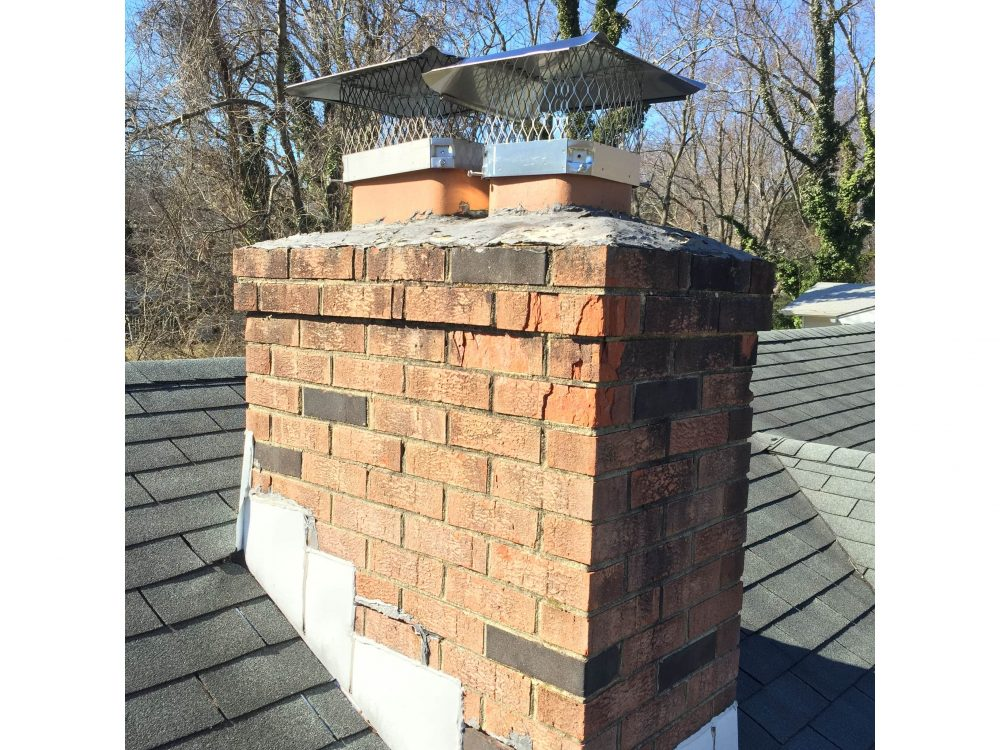 repaired masonry chimney