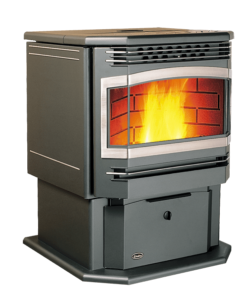 installed free-standing pellet stove
