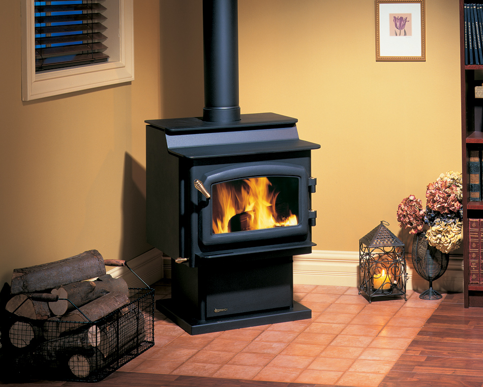 installed free standing wood stove