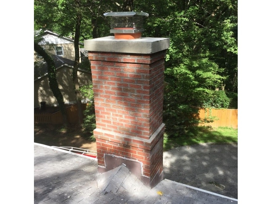 chimney with floating cast crown repaired