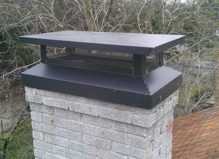 installed multi-flue chimney cap