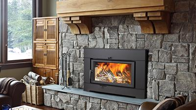 Wood burning fireplace Insert with veneers