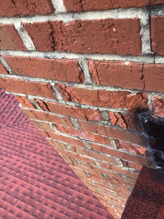 chimney leak from spalling brick